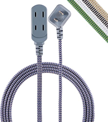 Cordinate 45526-T1, Navy/Gray, Designer 3 Extension, 2 Prong Power Strip, Extra Long 8 Ft Cable with Flat Plug, Braid...