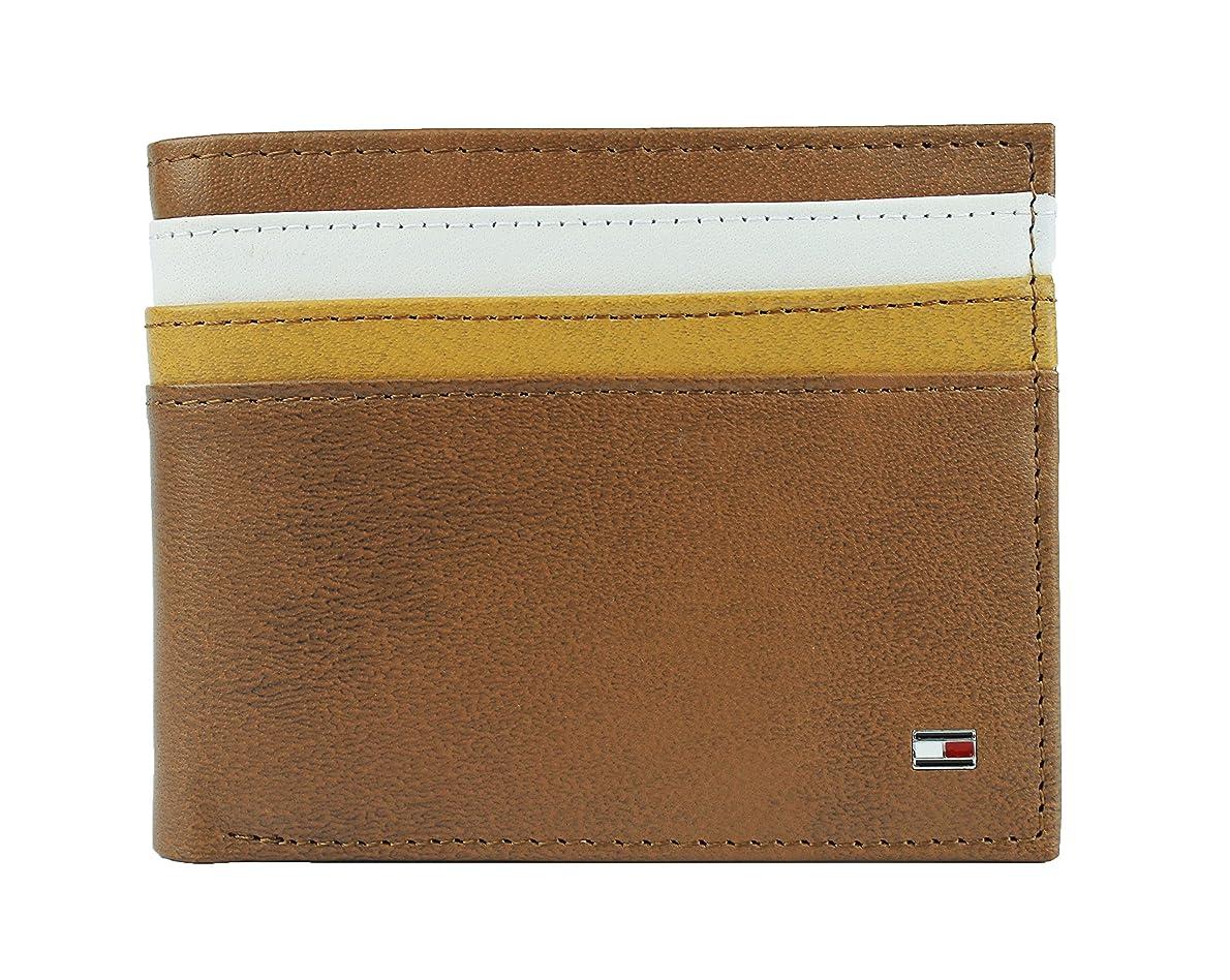 ボーナスバーマド好ましい新しいTommy HilfigerメンズレザーDouble Billfoldパスケース付き財布& Valet
