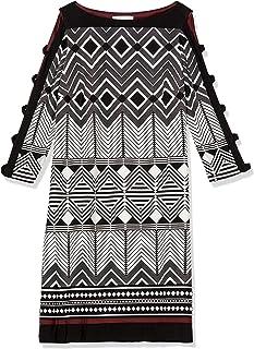 Sandra Darren womens 1 PC 3/4 Sleeve Printed ITY Shift Dress Casual Dress