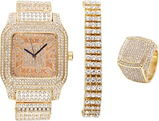 Bling-ed Out Biggie Sq. Iced Gold Hip Hop Watch w/ 3 Row Bling-ed Out Tennis Bracelet and Bling-ed Out Ring - You Will Hypnotize in a Flashy Way - 0513G3RT3Set