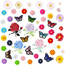 GOTONE Iron On Patches Embroidered Patch Sew, 50PCS Flowers Rose Daisies Butterflies Cute Patches Set, Assorted Size Decoration Sew On Patches for Clothing, Jackets, Backpacks, Jean,Skirts