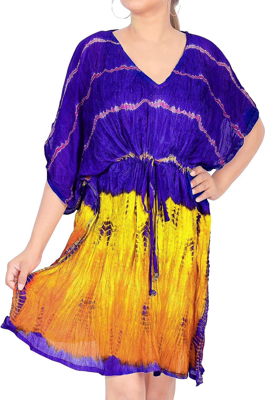 LA LEELA Women's Swimsuit Beach Cover Up Bikini Beachwear Bathing Suit Beach Dress US 16-32W Blue_H531