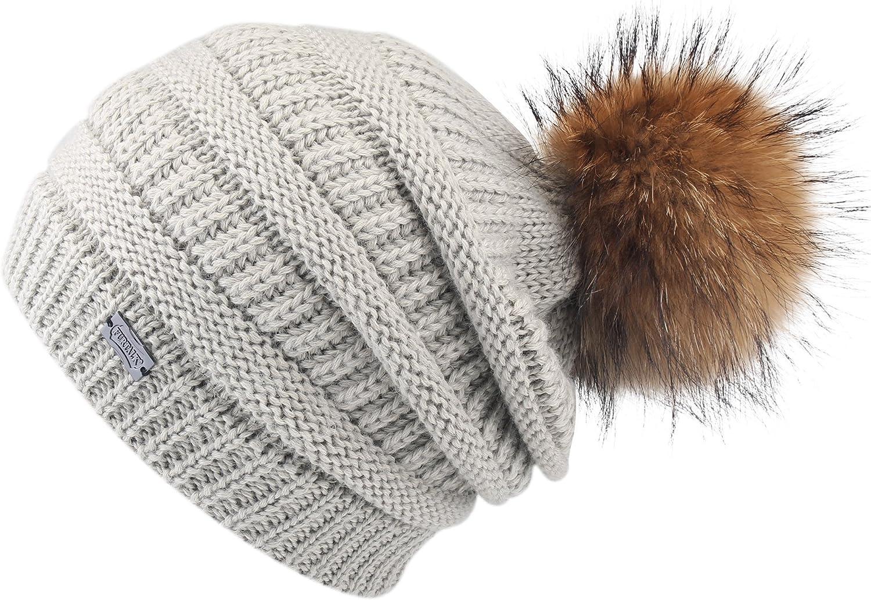 MINAKOLIFE Soft Solid Ribbed Stretch Cable Knit Faux Fur Pom Pom Beanie Hat