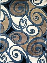 Sculpture Modern Area Rug Abstract Blue Design 241 (5 feet 2 inch x7 feet 3 inch)