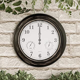 """Pure Garden Wall Thermometer-Indoor Outdoor Decorative 18"""" Quartz Battery-Powered, Waterproof Clock, Temperature and Hygro..."""