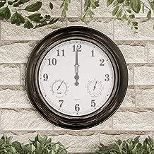 """Pure Garden Wall Thermometer-Indoor Outdoor Decorative 18"""" Quartz Battery-Powered, Waterproof Clock, Temperature and Hygrometer Gauge, Bronze"""