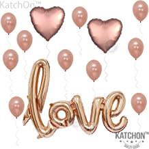 Love Balloons Decorations, Rose Gold – Large, Pack of 13 | Beautiful Rose Gold Love Balloon for Valentines-Day Party Supplies, Heart Shaped Rose Gold and Latex Balloon kit | Wedding, Bridal Shower