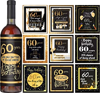 60th Birthday Wine Labels Set of 9 – 60th Birthday Gift Ideas - 60s Party Decorations - 60 years old Birthday Gifts For Women
