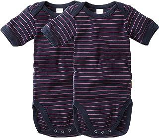 wellyou Baby und Kinder Doppelpack kurzarmbody/Baby-Body Junge aus 100% Baumwolle, Kurzarm 2er Set in Marine neonpink gr 50-134