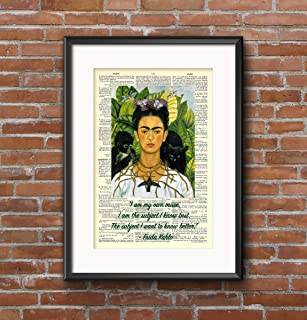 Frida Kahlo - Self-Portrait Thorn Necklace Hummingbird - Quote - 8x11 Vintage Dictionary Page Art Frida Kahlo - Self-Portrait Thorn Necklace Hummingbird - Quote - 8x11 Vintage Dictio