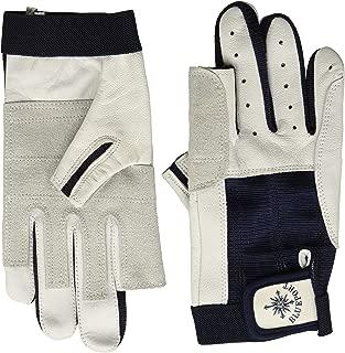 BLUEPORT 成人中性款航海手套皮革双指自由M 蓝色/白色