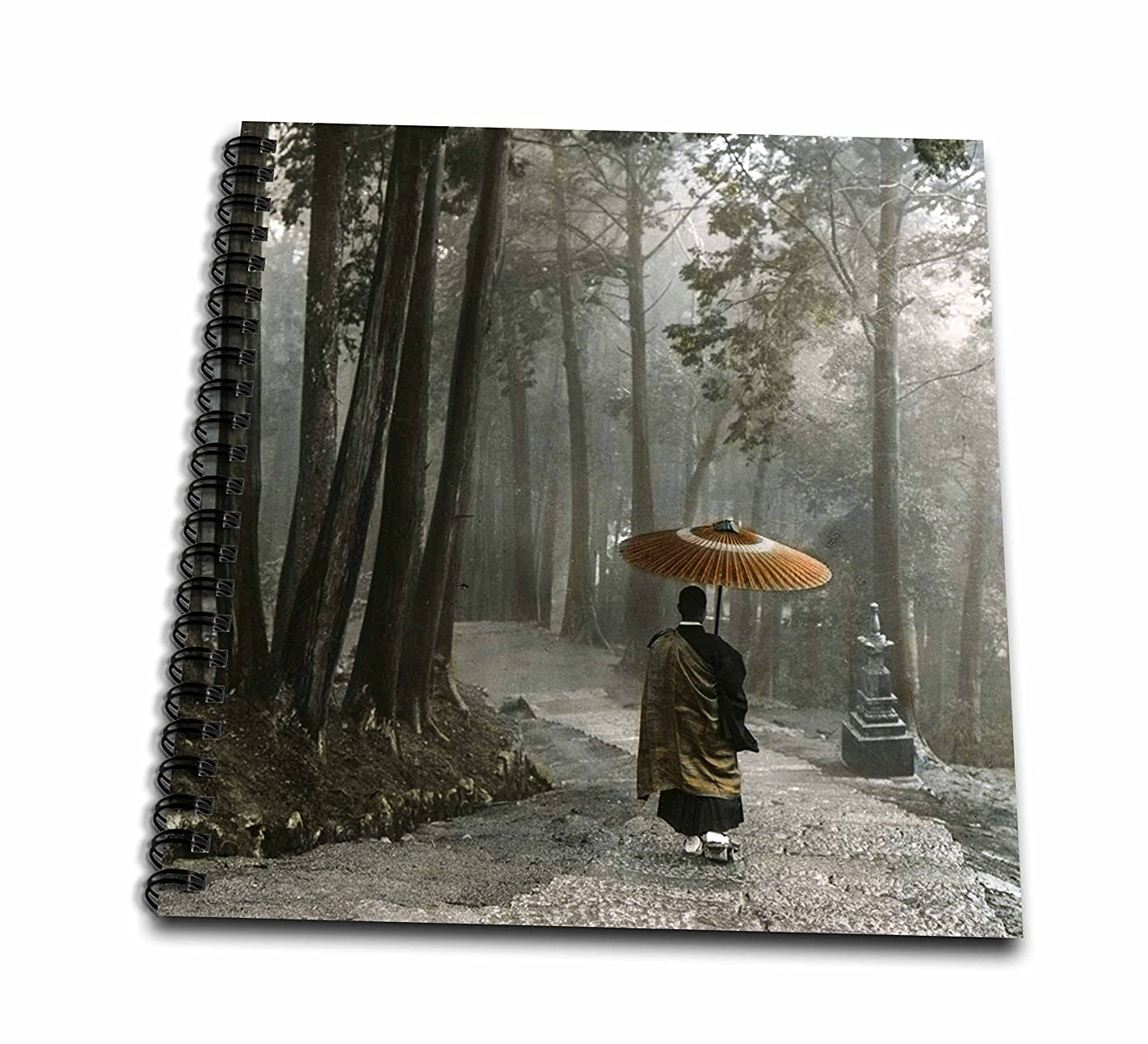 3D Rose Japanese Zen Buddhist Monk Walking Down Steps in a Light Rain Drawing Book