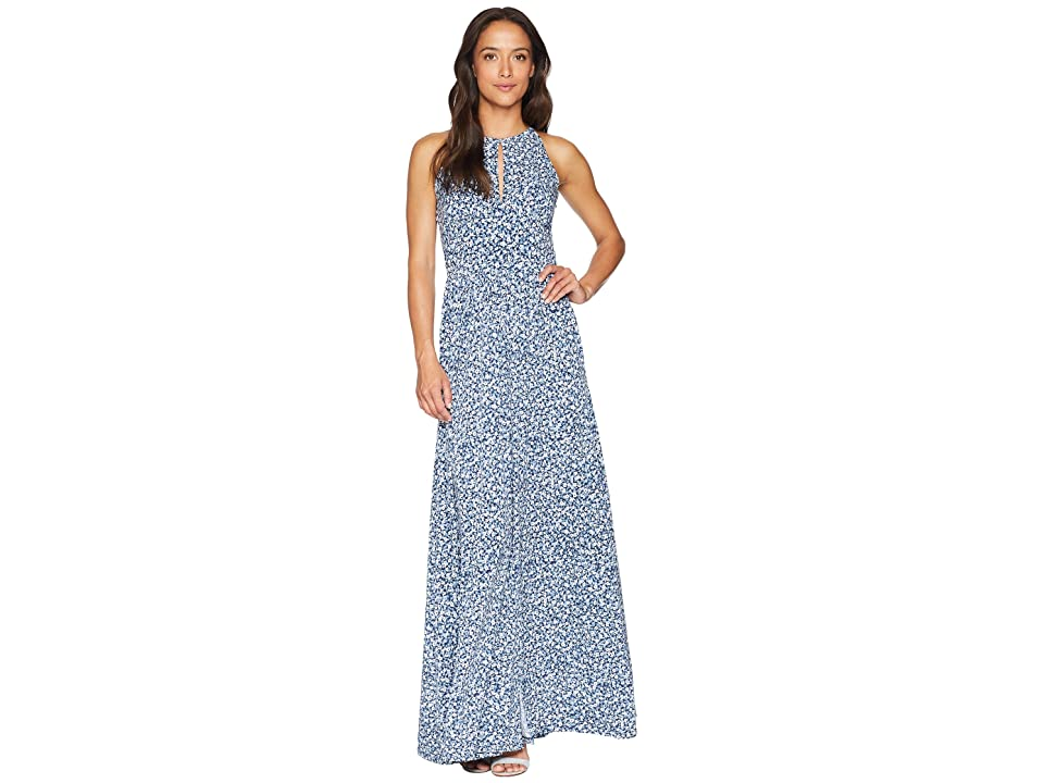 MICHAEL Michael Kors Floral Halter Maxi Dress (True Navy/Light Chambray) Women