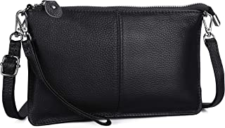 FERRISA Womens Leather Wristlet Clutch Crossbody Bag, Cell Phone Wallet Purse with Detachable Shoulder Strap