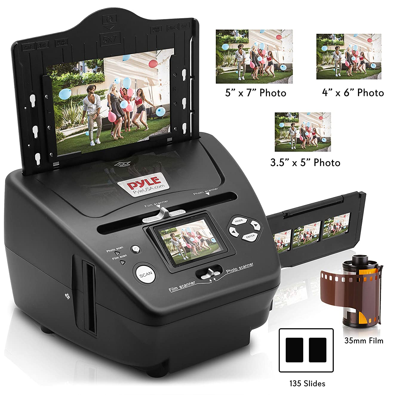 Digital 3-in-1 Photo, Slide and Film Scanner - Convert 35mm Film Negatives & Slides - With HD 5.1 MP - Digital LCD Screen, Easy to Use
