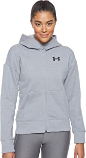 Under Armour Women's Originators Fleece Hooded Fz Lc Logo Jacket, Grey (Steel Light Heather/Apex Pink Black), Small