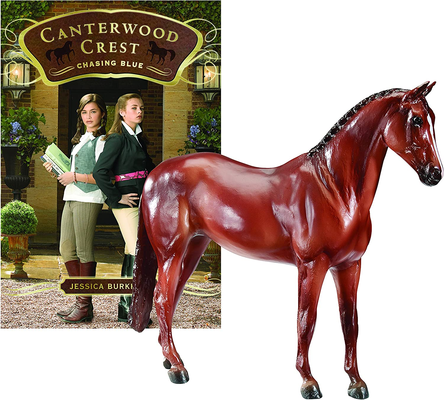 Breyer Canterwood Crest, Chasing bluee Horse and Book Set