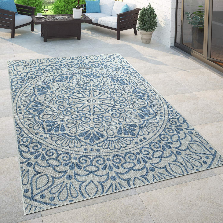 Paco Home In  & Outdoor Teppich, Für Balkon Und Terrasse Mit Orient Muster,  In Blau, Grösse8x8 cm