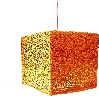 Lámpara colgante moderna cubo naranja, lámpara minimalista, decorativa de diseño único de hilo de algodón - CUBE 25