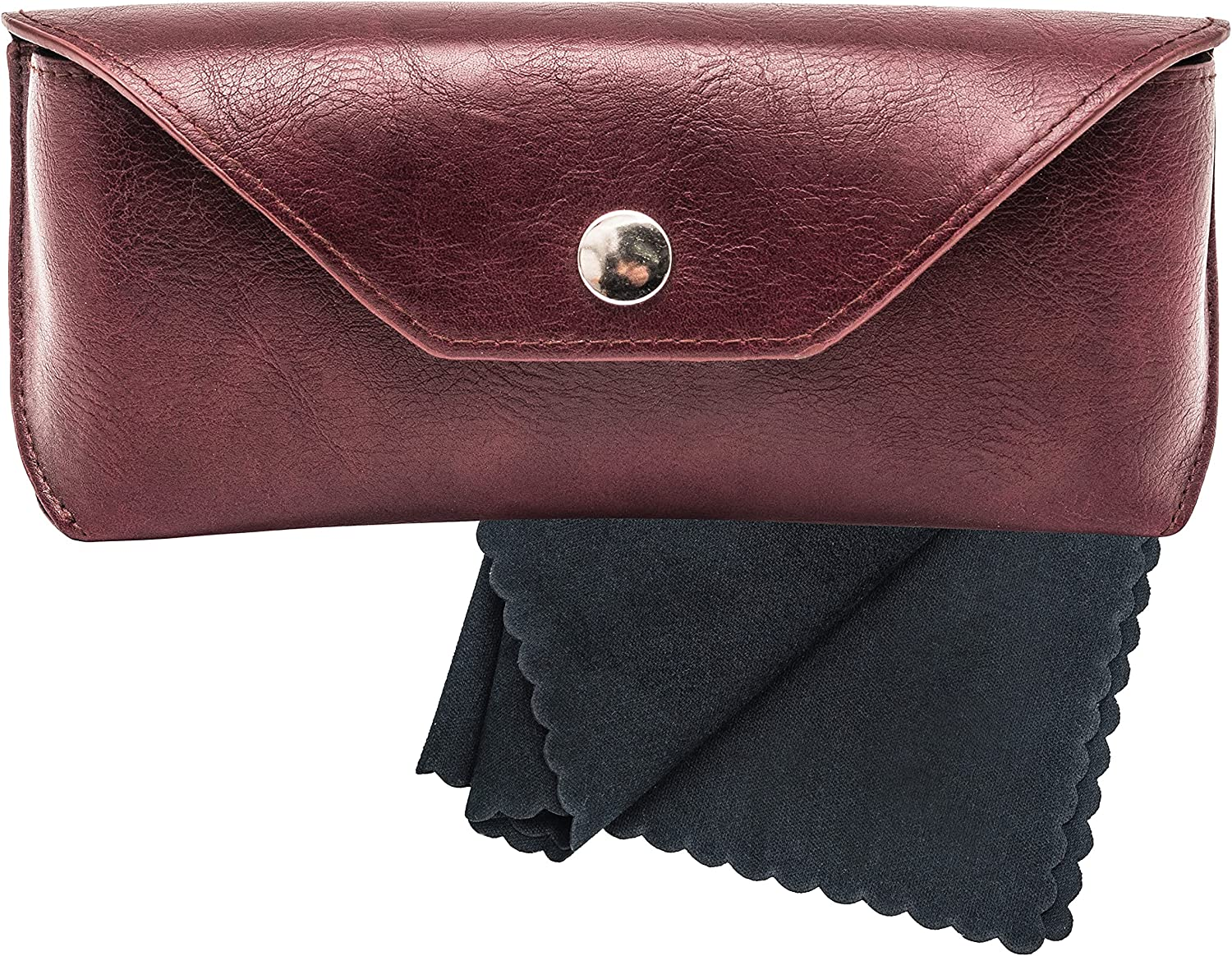 Large PU Leather Glasses Case Holder with Microfiber Cleaning Cloth