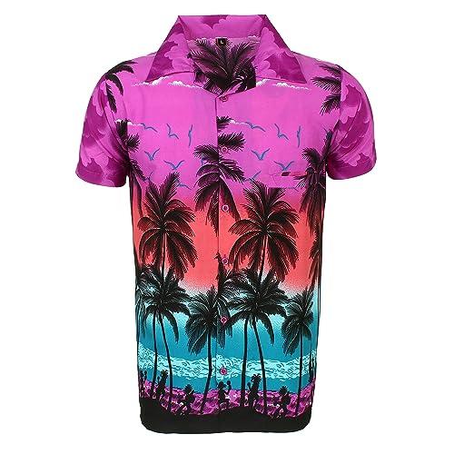 217a2a0e0 SAITARK Mens Hawaiian Shirt Stag Beach Hawaii Aloha Party Summer Holiday  Fancy Palm