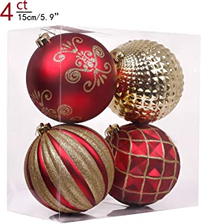 Valery Madelyn 4ct 150mm Luxury Red and Gold Shatterproof Christmas Ball Ornaments Decoration,Themed with Tree Skirt(Not Included)