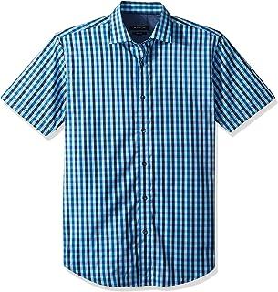 Bugatchi Men's Fitted Short Sleeve Point Collar Glitch Print Cotton Shirt