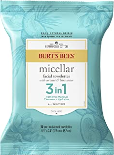 Burt's Bees, 3 in Facial Cleanser Towelettes and Makeup Remover Wipes and Made Repurposed Cotton, Micellar with Coconut & ...