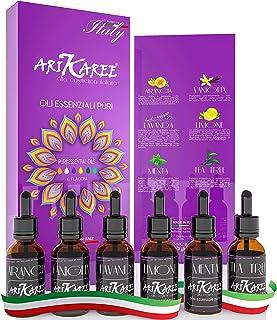 Arikaree® Oli Essenziali Per Diffusori Qualità Made In Italy Kit Olii Puri Naturali Tea Tree Vaniglia Limone Arancia Lavan...