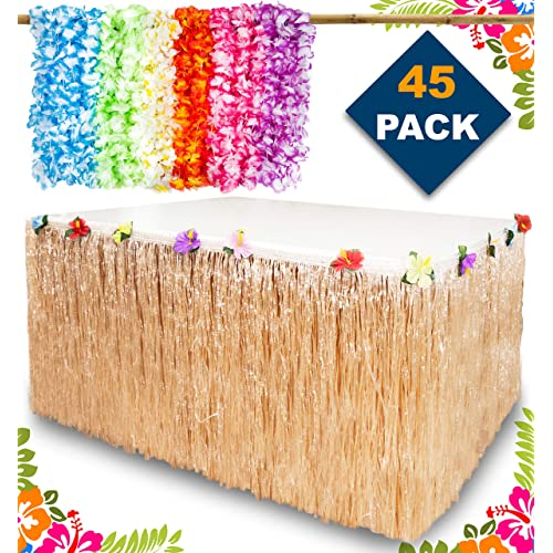 Aloha Happiness Hawaiian Leis Necklaces Pack Of 36 1 Beige Grass Table Skirt