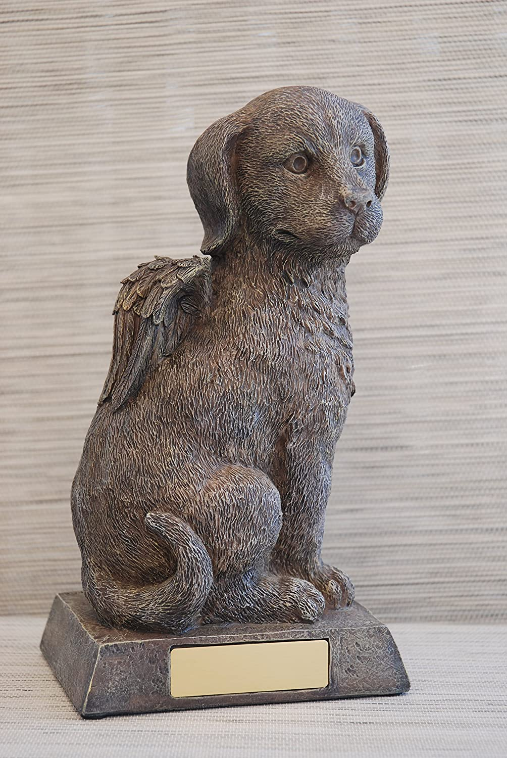 Dog urn grey as DogAngel figurine and engraving sheet, animal urn