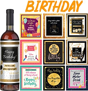 Wine Bottle Labels - Set of 10 - Birthday Wine Labels – Birthday gifts for woman and men - Birthday decorations for women and men - Birthday wine gifts for woman - Idea for wine gift basket