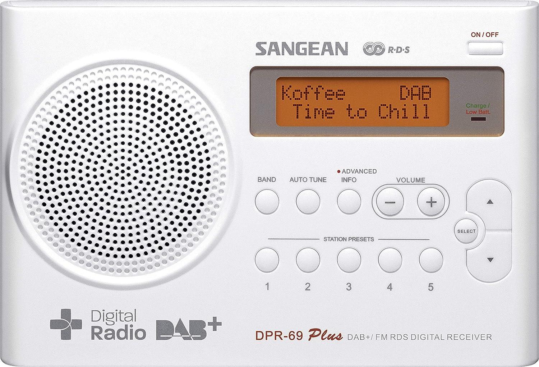 Sangean Dpr 69 Tragbares Dab Digitalradio Ukw Tuner Batterie Netzbetrieb Weiß Audio Hifi