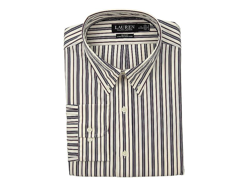 LAUREN Ralph Lauren Slim Fit No-Iron Multi-Stripe Poplin Dress Shirt (Wine/Bone) Men's Long Sleeve Button Up