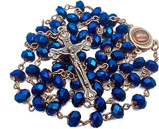 Nazareth Store️ Deep Blue rosary beads catholic necklace for men women glass beads Beautiful Christian prayer Jerusalem Soil Medal with Religious Cross, Sacred Holy Christian gifts - Velvet Pouch