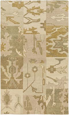 Surya Cypress CYP-1005 Transitional Hand Knotted 100% Wool Dark Olive Green 5' x 8' Patchwork Area Rug