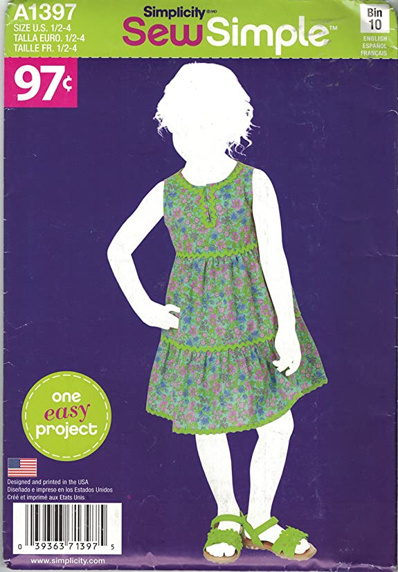 Simplicity Sew Simple A1397 Toddler Girl's Summer Dress Size 1/2-4