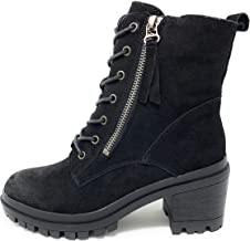 Womens Uno Leather Lace Up Lug Sole Combat Ankle Bootie