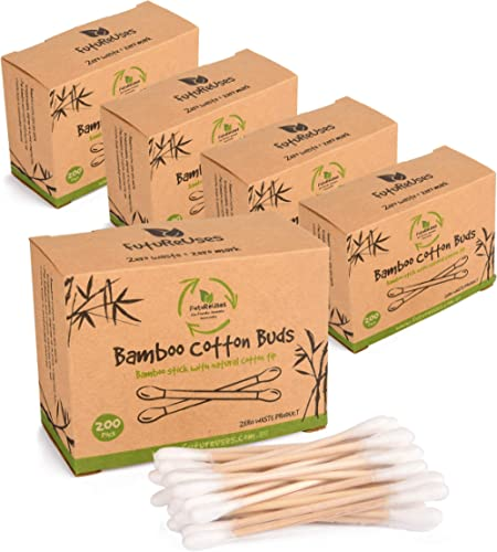 FutureUses® - 1000 Bamboo Cotton Buds - 5 x 200 Swabs - Eco Friendly Packaging - Biodegradable - Cleaning - Zero Wast...