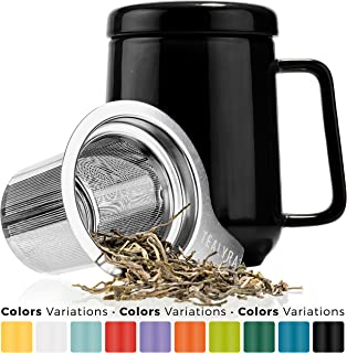 Tealyra - Peak Ceramic Black Tea Cup Infuser - 19-ounce - Large Tea High-Fired Ceramic Mug with Lid and Stainless Steel Infuser - Tea-For-One Perfect Set for Office and Home Uses - 580 milliliter