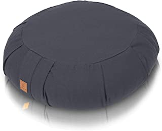 Buckwheat Meditation Cushion - Crescent or Round Zafu Yoga Pillow | 7 Colors | Zippered Organic Cotton Cover & Liner to Add or Remove Hulls | Machine Washable | Carrying Handle & GOTS Certified