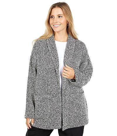 Eileen Fisher Handwoven Peruvian Organic Cotton Shawl Collar Jacket (Soft White/Black) Women