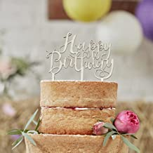 Ginger Ray BH-762 Happy Birthday Boho Wooden Cake Topper Decoration, Brown
