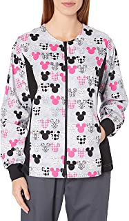 Cherokee Women's Tooniforms-Disney Zip Front Knit Panel Warm-up Jacket