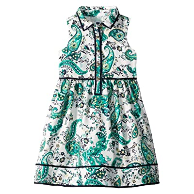 Janie and Jack Button Front Sleeveless Ruffle Dress (Toddler/Little Kids/Big Kids) (Green Paisley Print) Girl