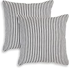 Cackleberry Home Black and White Ticking Stripe Woven Cotton Decorative Square Throw Pillow Case Covers 22 x 22 Inches, Set of 2