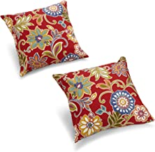 Blazing Needles Outdoor Spun Poly 20-Inch by 20-Inch by 6-Inch Throw Pillow, Alinea Pomppeii, Set of 2