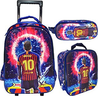 3D MESSI School Bag Trolley With Backpack For Kids Boy Include Lunch bag And pencil Pouch (18 INCH)