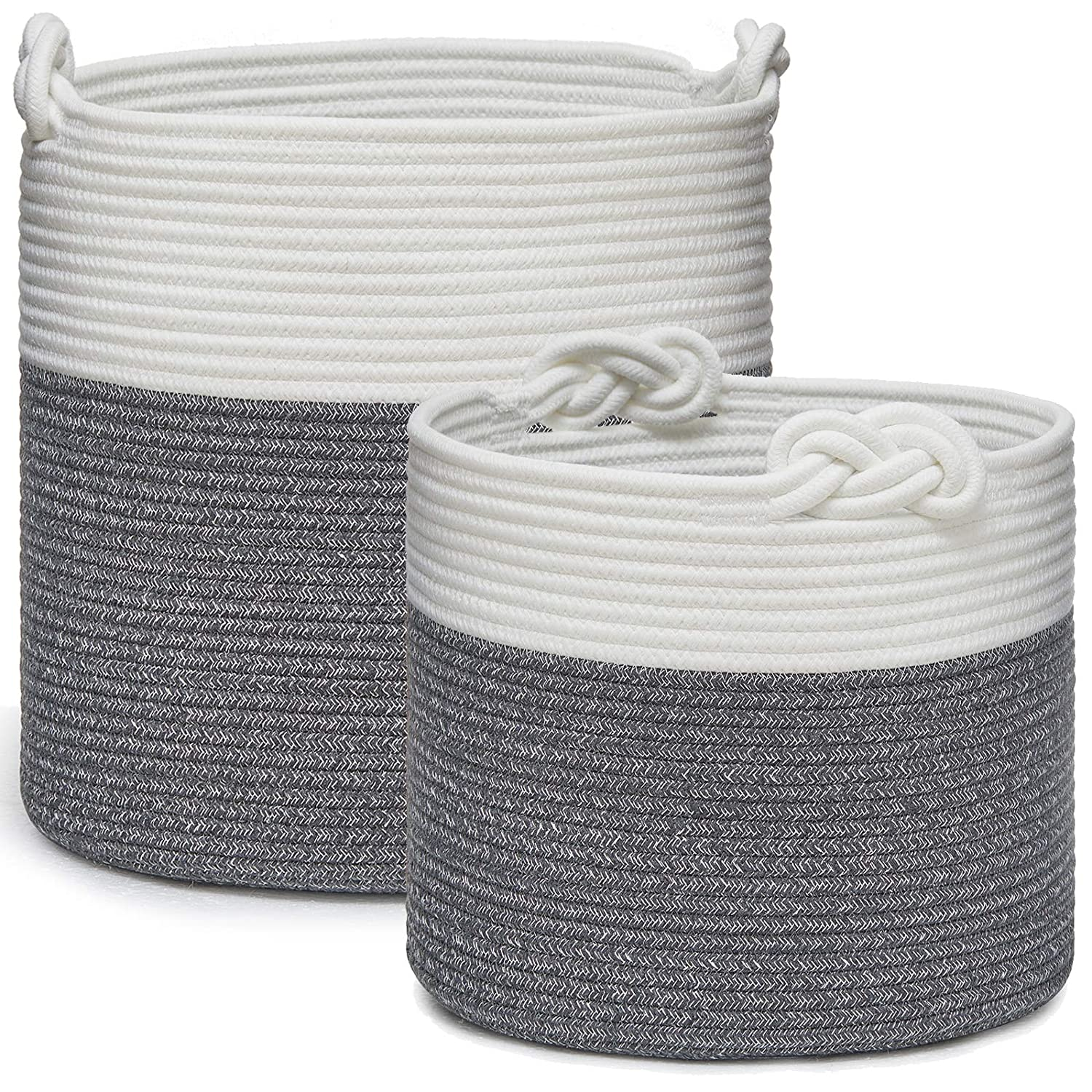 Max 82% OFF Choice Set of 2 Cotton Rope Baskets Sto Lucky Knots Handles with Woven