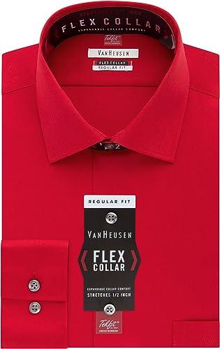 Van Heusen Hommes's Flex Regular Fit Solid Spread Collar Robe Shirt, Crimson, 15.5  Neck 34 -35  Sleeve